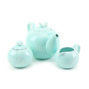 Conjunto de 3 Peças em Porcelana para Chá Butterfly Azul