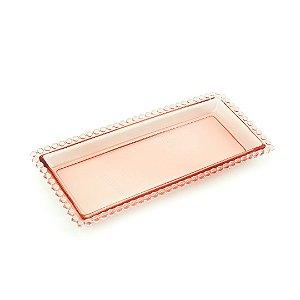 Travessa Retangular de Cristal de Chumbo Pearl Rosa