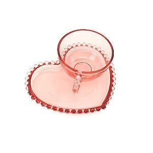 Xicara de Chá de Cristal de Chumbo com Prato Coração Pearl Rosa