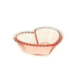 Bowl Coração de Cristal de Chumbo Pearl Rosa Grande