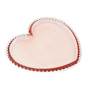 Prato Coração de Cristal de Chumbo Pearl Rosa Grande