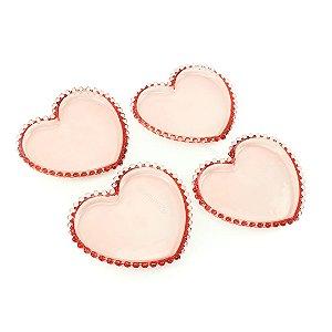 Conjunto de 4 Pratos Coração de Cristal de Chumbo Pearl Rosa Pequenos