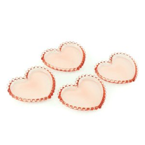 Conjunto de 4 Mini Pratos Coração de Cristal de Chumbo Pearl Rosa