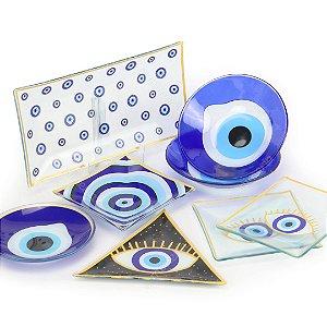 Conjunto de Bowls, Pratinhos e Petisqueiras de Vidro Olho Grego 8 Peças