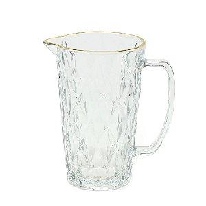 Jarra de Vidro com Fio de Ouro Diamond Transparente 1 Litro