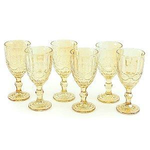Conjunto de 6 Taças de Vidro para Bebidas Libélula Âmbar Metalizado