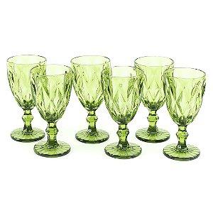 Conjunto de 6 Taças de Vidro para Bebidas Diamond Verde