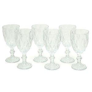 Conjunto de 6 Taças de Vidro para Bebidas Diamond Transparente