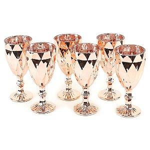Conjunto de 6 Taças de Vidro para Bebidas Diamond Rose Gold