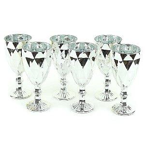 Conjunto de 6 Taças de Vidro para Bebidas Diamond Prateada
