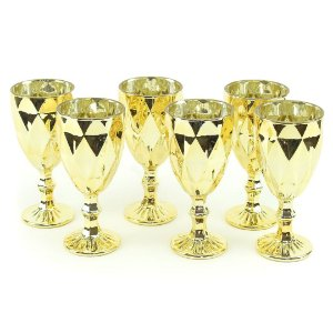 Conjunto de 6 Taças de Vidro para Bebidas Diamond Dourado