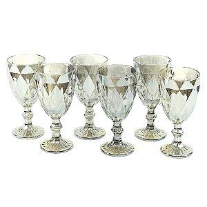 Conjunto de 6 Taças de Vidro para Bebidas Diamond Cinza Metalizado
