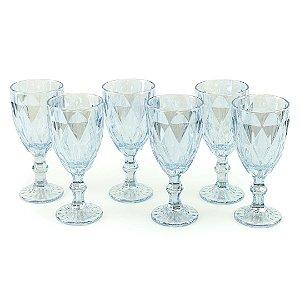 Conjunto de 6 Taças de Vidro para Bebidas Diamond Azul Metalizado