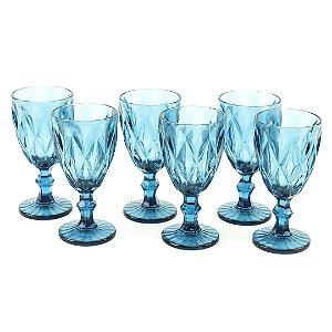 Conjunto de 6 Taças de Vidro para Bebidas Diamond Azul