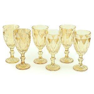 Conjunto de 6 Taças de Vidro para Bebidas Diamond Âmbar Metalizado