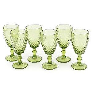 Conjunto de 6 Taças de Vidro para Bebidas Bico de Abacaxi Verde