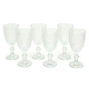 Conjunto de 6 Taças de Vidro para Bebidas Bico de Abacaxi Transparente
