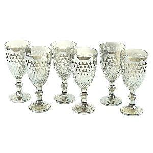 Conjunto de 6 Taças de Vidro para Bebidas Bico de Abacaxi Cinza Metalizado