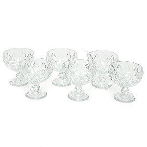 Conjunto de 6 Taças de Vidro para Sobremesas Diamond Transparente