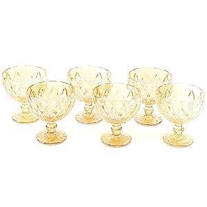 Conjunto de 6 Taças de Vidro para Sobremesas Diamond Âmbar