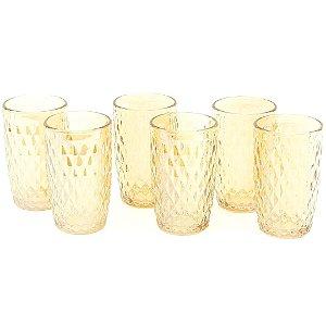 Conjunto de 6 Copos de Vidro Bico de Abacaxi Âmbar