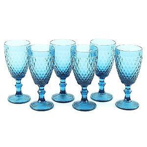 Conjunto de 6 Taças de Vidro para Bebidas Bico de Abacaxi Azul
