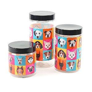 Kit 3 Potes para Ração e Petisco Mix Dog