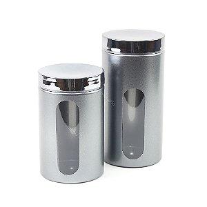 Kit 2 Potes com Visor Metalizado para Mantimentos Chumbo