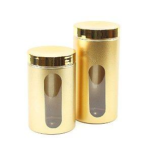 Kit 2 Potes com Visor Metalizado para Mantimentos Dourado