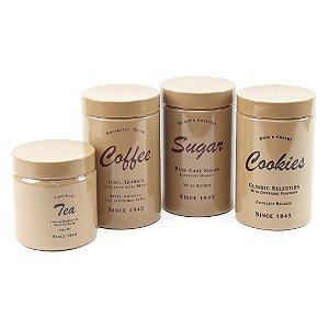 Kit 4 Potes para Mantimentos Vanilla