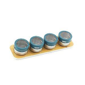 Porta Condimentos em Inox com Suporte Magnético 4 Peças Azul
