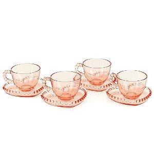 Conjunto de 4 Xícaras de Chá de Cristal com Pires Coração Pearl Rosa