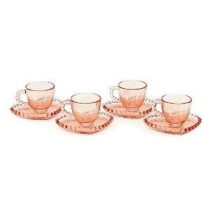 Conjunto de 4 Xícaras para Café de Cristal com Pires Coração Pearl Rosa
