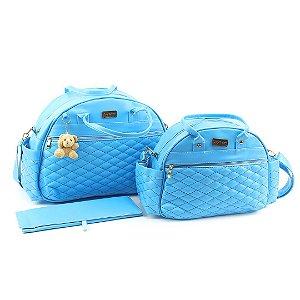 Kit Bolsa Maternidade Matelassê Azul