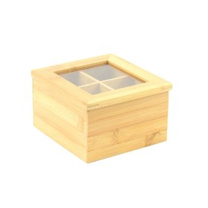 Caixa de Chá 4 Divisórias e Visor