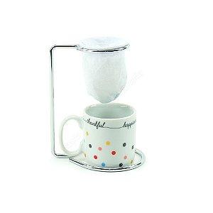 Kit Mini Caneca de Porcelana com Coador Mini Dots