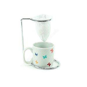 Xícara de Porcelana com Coador Borboleta