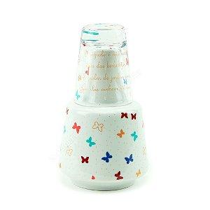 Moringa de Porcelana com Copo de Vidro Borboleta 800 ml