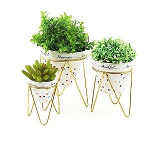 Trio Vasos de Porcelana e Ferro Mini Dots