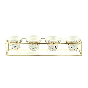 Kit 4 Vasos de Porcelana e Suporte de Ferro Borboletas