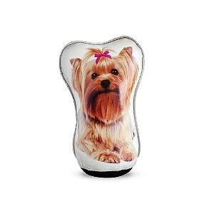 Peso De Porta Cachorro Yorkshire Laço Rosa