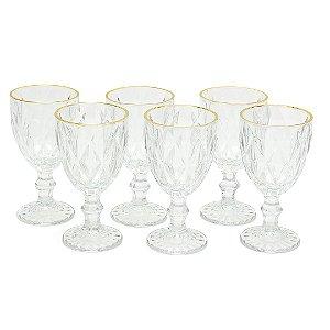 Conjunto de 6 Taças de Vidro para Bebidas com Fio de Ouro Diamond Transparente