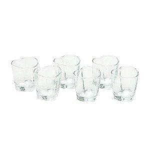 Conjunto de 6 Copos de Vidro para Shot em Formato de Coração