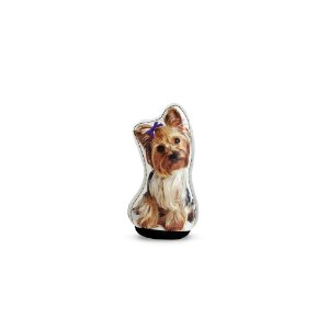 Peso de Papel Cachorro Yorkshire Laço Roxo