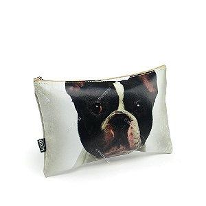 Necessaire Estampada Média Cachorro Bulldog Francês Preto e Branco