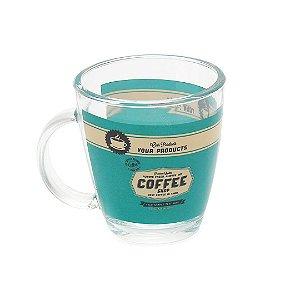 Caneca de Vidro Decorada Coffee Shop 360 ml