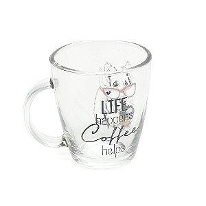 Caneca de Vidro Decorada Life Happens Coffe Helps 360 ml