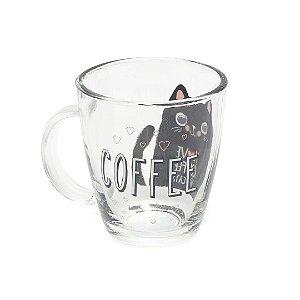 Caneca de Vidro Decorada I love Coffee and Cats 360 ml