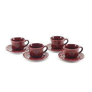 Conjunto de 4 Xícaras de Café em Porcelana com Pires Iris Verbena 80ml