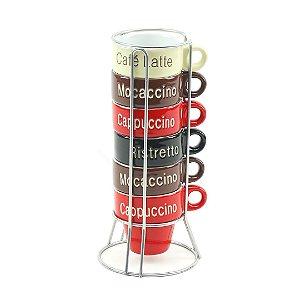 Conjunto de 6 Canecas de Café em Porcelana com Suporte Names 70 ml